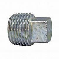 ¼ inch NPT galvanized malleable iron square head plug