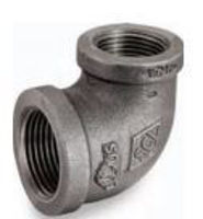 Picture of 1-1/4 X 1/2 inch NPT 90 degree class 150 malleable iron reducing elbow