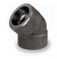 Picture of ¼ inch 45 degree forged carbon steel socket weld elbow
