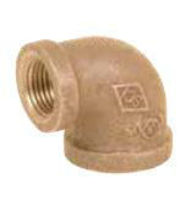 Picture of 3/4 X 1/2 inch NPT Threaded Bronze 90 degree reducing elbow