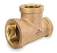 Picture of 3 x 3 x 1 inch NPT threaded bronze reducing tee