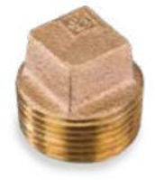 Picture of ⅜ inch NPT threaded bronze square head solid plug