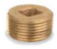 Picture of ¾ inch NPT threaded bronze square countersunk head plug