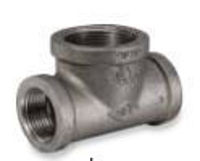 Picture of 1 x 1-1/2 inch malleable iron class 150 bull head tee